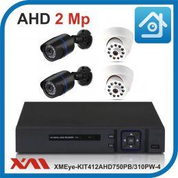 Комплект видеонаблюдения на 4 камеры XMEye-KIT412AHD750PB/310PW-4.
