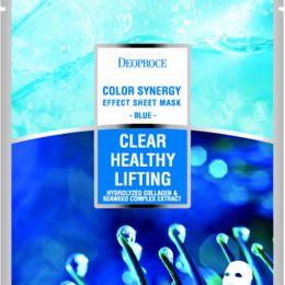 DEOPROCE COLOR SYNERGY EFFECT SHEET MASK BLUE 20g Подтягивающая тканевая маска на основе морской воды и коллагена