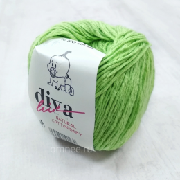 Diva natural cotton baby (19 св.зелёный), 100% хлопок, 50 г. 200 м.
