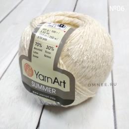 YarnArt summer 06 (сливочный), 70% мерсеризованный хлопок, 30% вискоза, 100гр., 350 м.