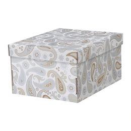 СМЕКА Коробка с крышкой, серый, с рисунком, 25 х 32 х 17