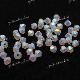 Биконусы хрусталь 4мм White Opal AB 2X 50 шт (Preciosa)