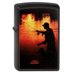Зажигалка ZIPPO Рыбак, с покрытием Black Matte, латунь/сталь, чёрная, матовая