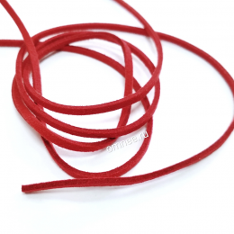 Шнур искусственная замша, 3*1,5мм-1м, цв.: красный