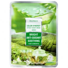 DEOPROCE COLOR SYNERGY EFFECT SHEET MASK GREEN 20g Успокаивающая тканевая маска на основе экстрактов алое и зеленого чая