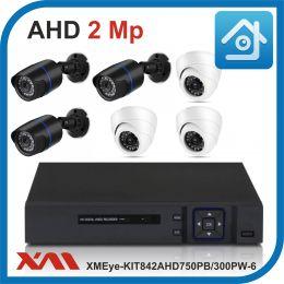 Комплект видеонаблюдения на 6 камер XMEye-KIT842AHD750PB/300PW-6.