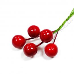 Ягоды в пучке 5 шт. d1 см, цв.: красный