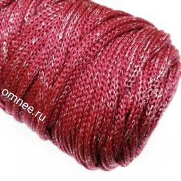 Шнур Cordee (170-180 м!!) с серебряным люрексом, ПП4 мм, цв.: бордовый