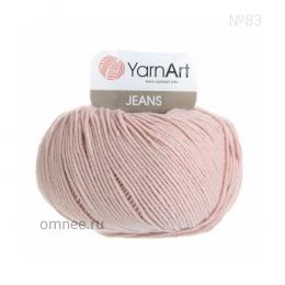 YarnArt Jeans 83 (пудра), 55%хлопок, 45% акрил, 50 гр.160 м