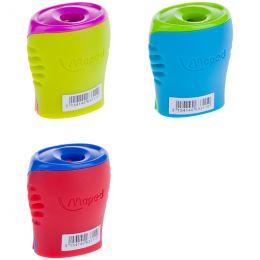 """Точилка MAPED """"Boogy"""", с контейнером, двухцветная, цвет ассорти, 063311"""