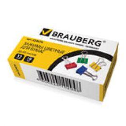 Зажимы для бумаг BRAUBERG, КОМПЛЕКТ 12шт., 19мм, на 60л., цветные, в карт.коробке, 224470
