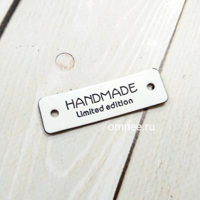 Бирка ''HAND MADE'' 5х1,5 см, цв.: белый, иск.кожа, шт.
