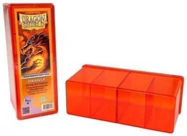 Пластиковая коробочка Dragon Shield с 4 секциями оранжевая