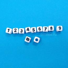 Бусина ''цифры'', 6х6 мм, шт.