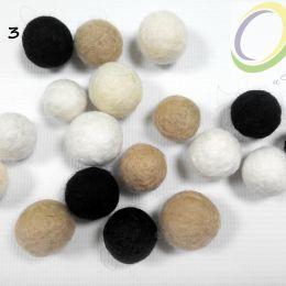 Шарик валяный 15 мм, 100% меринос, цвет чёрный