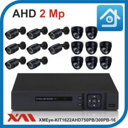Комплект видеонаблюдения на 16 камер XMEye-KIT1622AHD750PB/300PB-16.