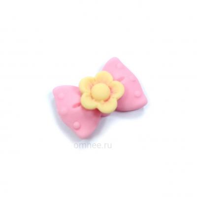 Кабошон (серединка) ''бант с цветочком'', акрил, 23х16мм, цв.: розовый