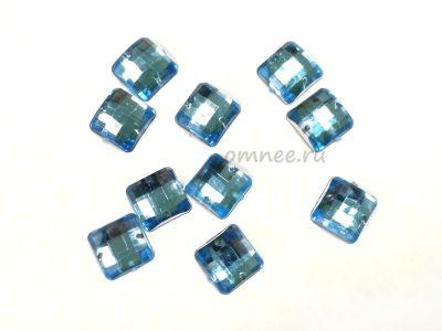 Стразы пришивные акриловые 12х12 мм, цв.: голубой