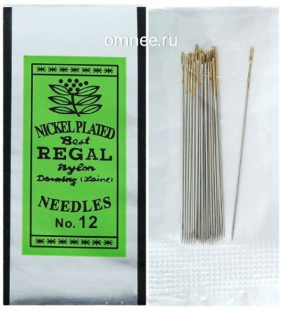 Иглы для бисера REGAL №12, 4 см (набор 14 игл)