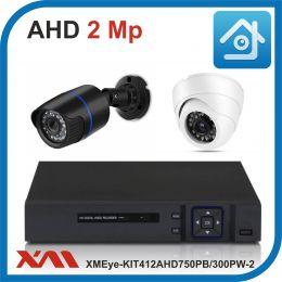 Комплект видеонаблюдения на 2 камеры XMEye-KIT412AHD750PB/300PW-2.