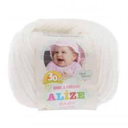 Alize BABY WOOL 55 (белый), 40% шерсть, 40 % акрил, 20% бамбук, 50 гр. 175 м.