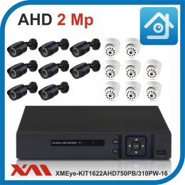 Комплект видеонаблюдения на 16 камер XMEye-KIT1622AHD750PB/310PW-16.