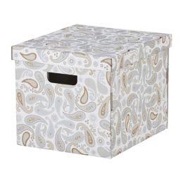 СМЕКА Коробка с крышкой, серый, с рисунком 33 х 38 х 30 см