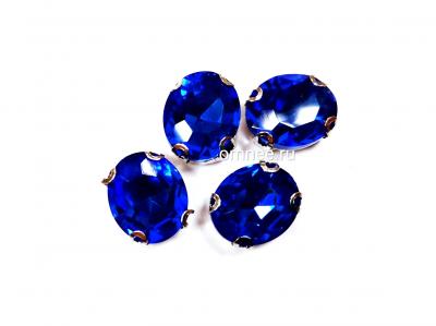 Стразы в цапках 12х10 мм, стекло, цв.: синий, шт.