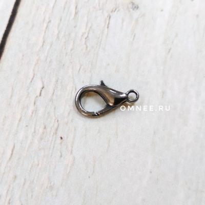 Застежка лобстер (карабин) 15 мм (с колечком), шт., цв.: в ассортименте