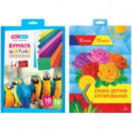Набор крепированной бумаги ArtSpace, А4, 32г/м2, 10 листов, 10 цветов, в папке, НбКр10-10_4446