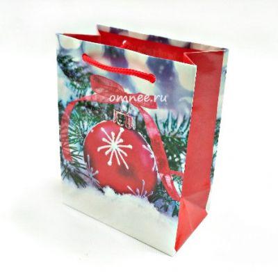 Пакет подарочный НГ, 11,5х6,5х14,5 см.