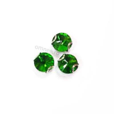 Стразы в цапках 8 мм, стекло, цв.: зелёный, шт.
