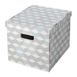 СМЕКА Коробка с крышкой, белый, с рисунком, 33 х 38 х 30 см