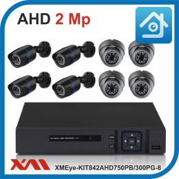 Комплект видеонаблюдения на 8 камер XMEye-KIT842AHD750PB/300PG-8.