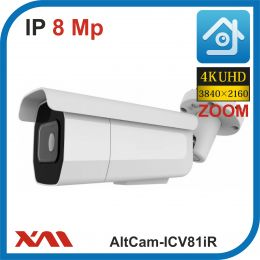 AltCam ICV81IR. ZOOM. POE/12V.(Металл/Белая). 2160P. 8Mpx. Камера видеонаблюдения.