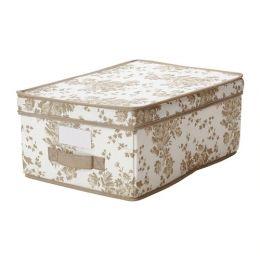 ГАРНИТУР Коробка с крышкой, бежевый, белый цветок, 28 х 42 х 16 см