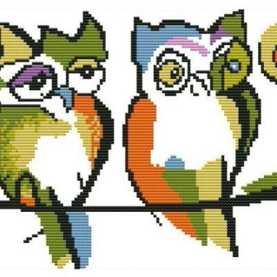Вышивка крестом ''Две совы'', 41х28 см (с нанесенным рисунком)