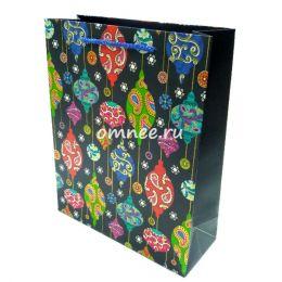 Пакет подарочный ''Новогодние игрушки'', цв.: синий, 26х32х10 см