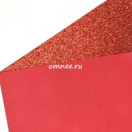 Фоамиран глиттерный 2мм, 20х30 см, цв.: Н001 красный